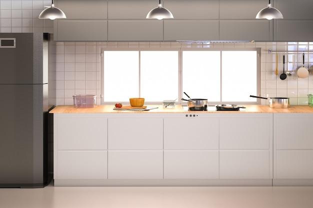 Renderowanie 3d wnętrza kuchni z szafkami i lodówką