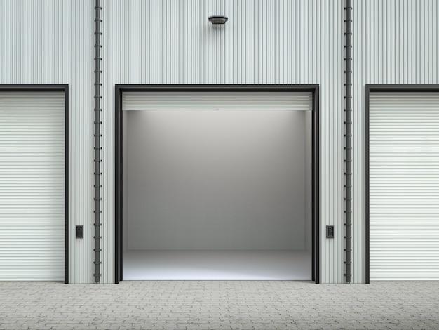 Renderowanie 3d wnętrza magazynu z drzwiami żaluzjowymi