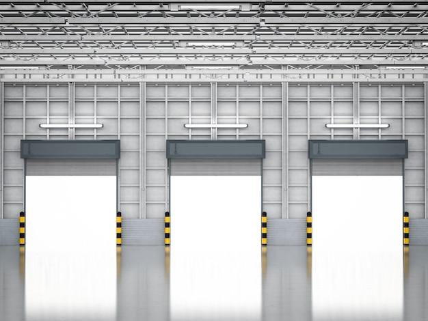 Renderowanie 3d wnętrza magazynu z otwartymi drzwiami żaluzjowymi