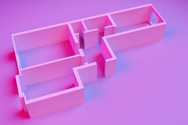 Renderowanie 3d wnętrza pustego modelu papierowego kamienicy z dwiema sypialniami na różowym tle