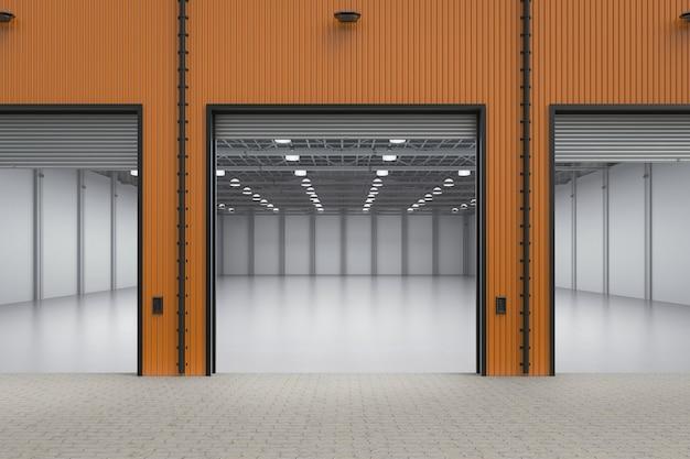Renderowanie 3d wnętrza pustej fabryki z otwartymi drzwiami migawki
