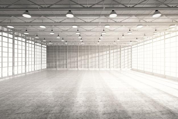 Renderowanie 3d wnętrza pustej fabryki