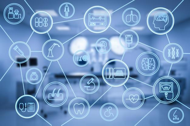 Renderowanie 3d wnętrza szpitala z medycznym wyświetlaczem graficznym