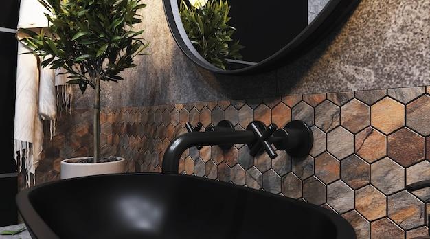 Renderowanie 3d. wnętrze nowoczesnej łazienki z sześciokątnymi brązowo-szarymi kafelkami na ścianie.