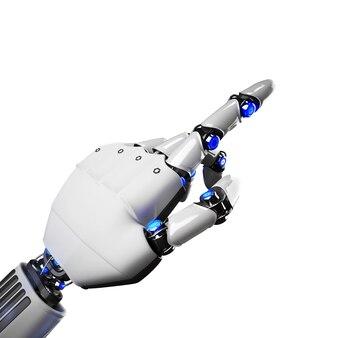 Renderowanie 3d wskazujące futurystyczną rękę robota