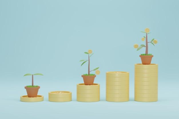 Renderowanie 3d. wykres wzrostu stosu monet z drzewa. koncepcja banku inwestycyjnego firmy.