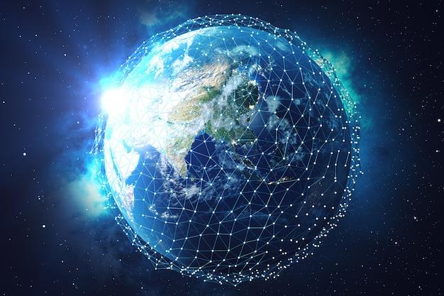 Renderowanie 3d wymiana sieci i danych nad planetą ziemią w kosmosie. linie połączeniowe wokół kuli ziemskiej. blue sunrise. globalna łączność międzynarodowa. elementy tego obrazu dostarczone przez nasa