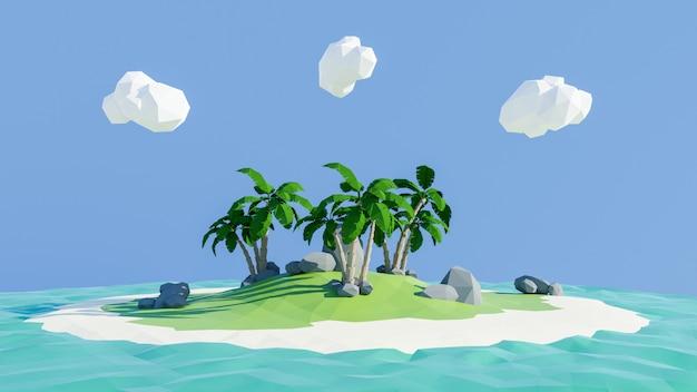 Renderowanie 3d. wyspa o niskim wielokącie. koncepcja relaks przygody