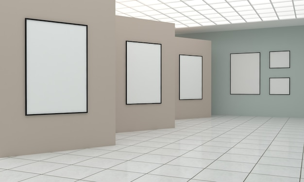 Renderowanie 3d wystawy w galerii sztuki