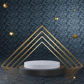 Renderowanie 3d z czarnego złota cokołu na wyraźnym tle, abstrakcyjne minimalne puste miejsce na podium dla produktu kosmetycznego,