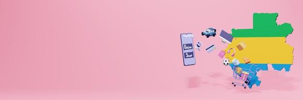 Renderowanie 3d zakupów online w gabonie dla mediów społecznościowych i stron internetowych