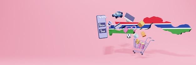 Renderowanie 3d zakupów online w gambii dla mediów społecznościowych i stron internetowych