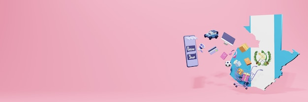 Renderowanie 3d zakupów online w gwatemali dla mediów społecznościowych i stron internetowych