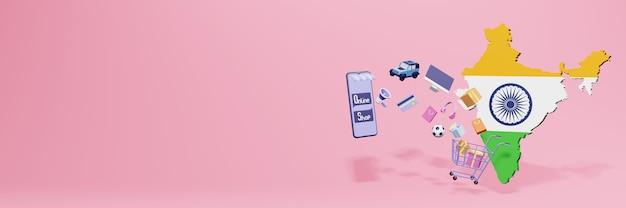 Renderowanie 3d zakupów online w indiach dla mediów społecznościowych i stron internetowych
