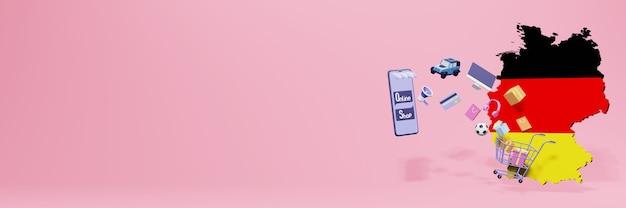 Renderowanie 3d zakupów online w niemczech dla mediów społecznościowych i stron internetowych
