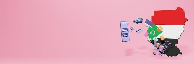 Renderowanie 3d zakupów online w sudanie dla mediów społecznościowych i stron internetowych