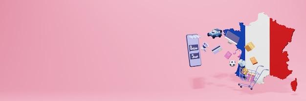 Renderowanie 3d zakupów online we francji dla mediów społecznościowych i stron internetowych
