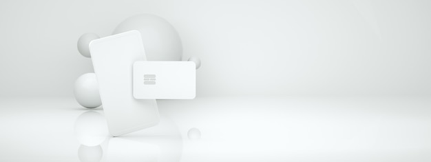 Renderowanie 3d zakupów online za pomocą telefonu i karty kredytowej, szablon sieci społeczności bezgotówkowej, układ panoramiczny