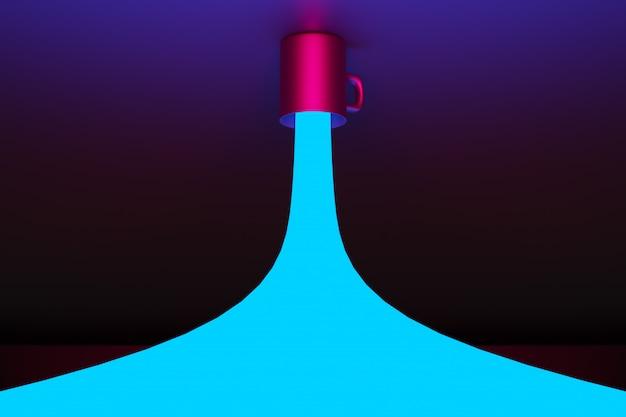 Renderowanie 3d. zbliżenie średniej wielkości kubek czarnej herbaty i kawy w niebieskim przepływie wody