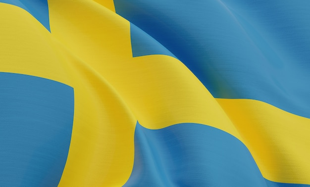 Renderowanie 3d zbliżenie szwecja flaga rendering 3d