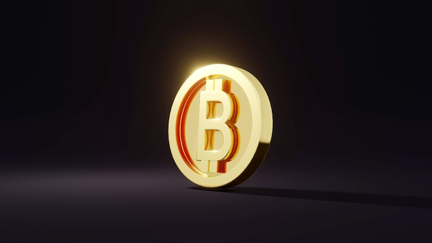 Renderowanie 3d zdecentralizowane izolowane złote monety b jako odnoszące się do bitcoina na tle