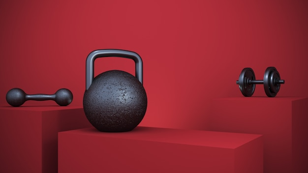 Renderowanie 3d. żelazny sprzęt fitness w czerwonym podium