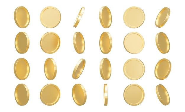 Renderowanie 3d. zestaw złotych monet na białym tle
