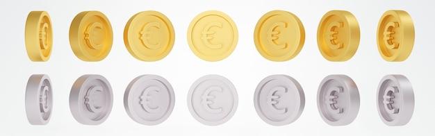 Renderowanie 3d zestawu wirujących złotych srebrnych monet euro w wielu widokach obraca się pod różnymi kątami