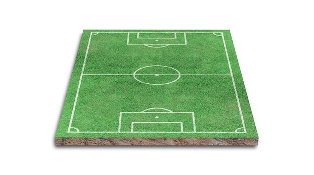 Renderowanie 3d. zielona trawa boisko na białym tle.