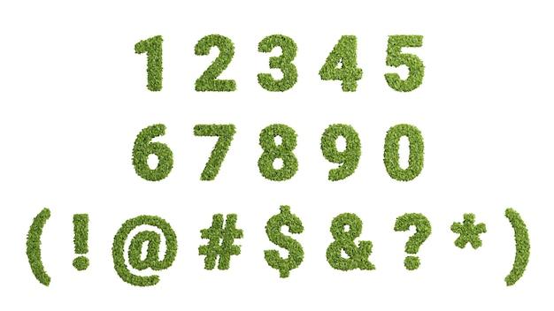 Renderowanie 3d zielone rosnące liście list na białym tle, numer ekologii w wysokiej rozdzielczości i zestaw symboli do projektowania ochrony środowiska, zawierają ścieżkę przycinającą