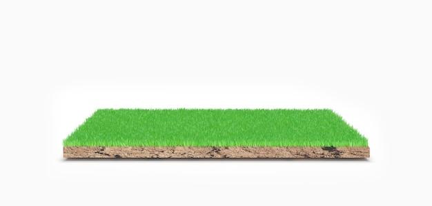 Renderowanie 3d. zielony kawałek ziemi na białym tle