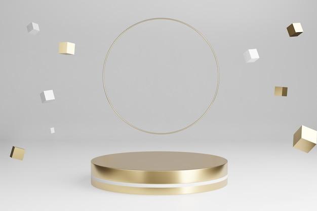 Renderowanie 3d: złota platforma z okrągłymi błyszczącymi pierścieniami i spadające złote pudełko ozdobne z pustą przestrzenią na pokaz produktów.