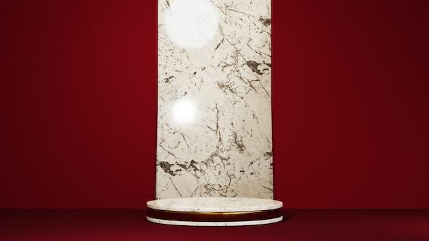 Renderowanie 3d złotego marmurowego podium i czerwonej sceny przeplatanej marmurowym tłem. makieta produktu pokazowego.