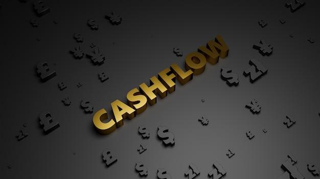 Renderowanie 3d złotego metalicznego tekstu cashflow na ciemnym tle waluty.