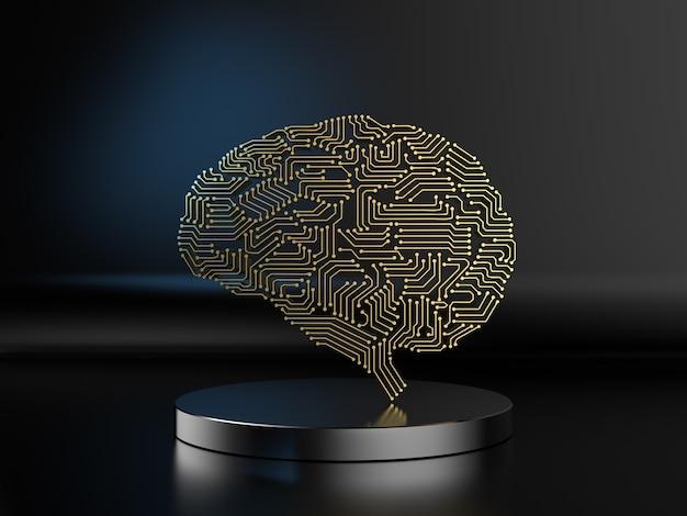 Renderowanie 3d złotego mózgu sztucznej inteligencji lub mózgu obwodu na czarnym tle