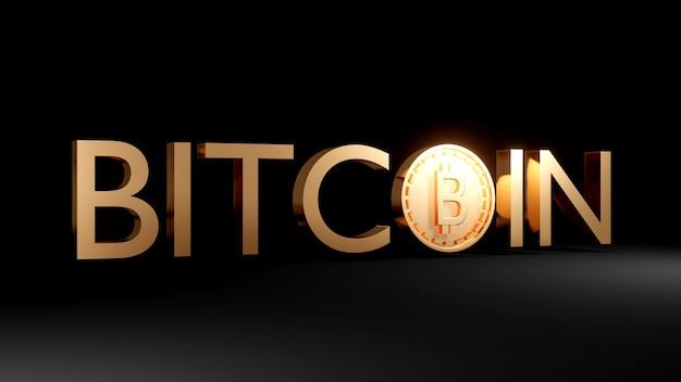 Renderowanie 3d złotego tekstu bitcoin z monetą używającą jako o na ciemnym tle