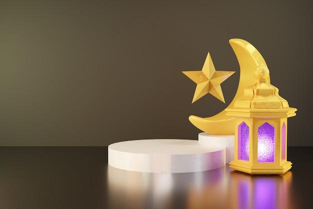 Renderowanie 3d złotej latarni i półksiężyca na białej scenie podium na ramadan transparent tło