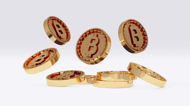 Renderowanie 3d złotej monety b jako odnoszącej się do bitcoina spadającego na ziemię na tle