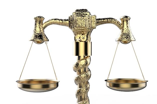 Renderowanie 3d złotej skali prawa na białym tle