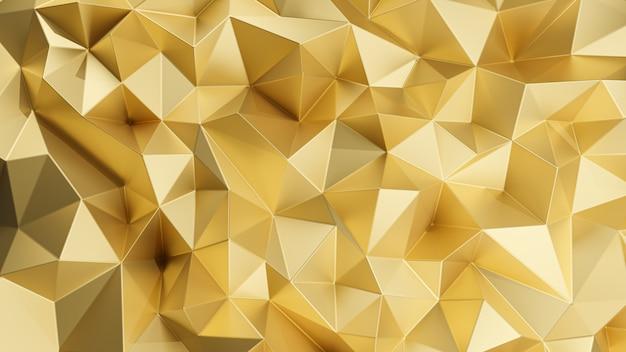 Renderowanie 3d. złoty trójkątny streszczenie tło.