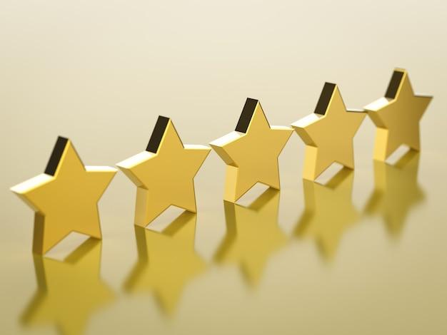 Renderowanie 3d złotych pięciu gwiazdek na złotym tle