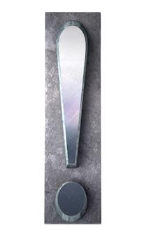 Renderowanie 3d znaku wykrzyknika w druku metalicznym maszynopisem