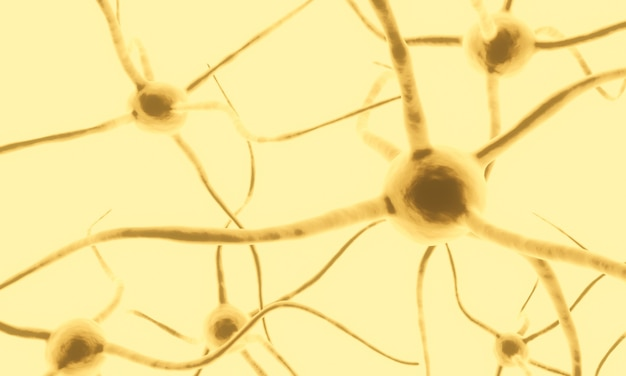 Renderowanie 3d. żółta komórka neuronowa.