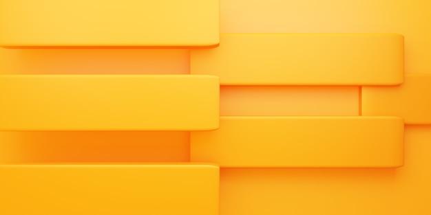 Renderowanie 3d żółtej pomarańczowej abstrakcyjnej geometrycznej minimalnej sceny tła do projektowania reklam