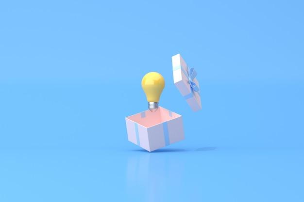 Renderowanie 3d żółtej żarówki w otwartym pudełku na prezent
