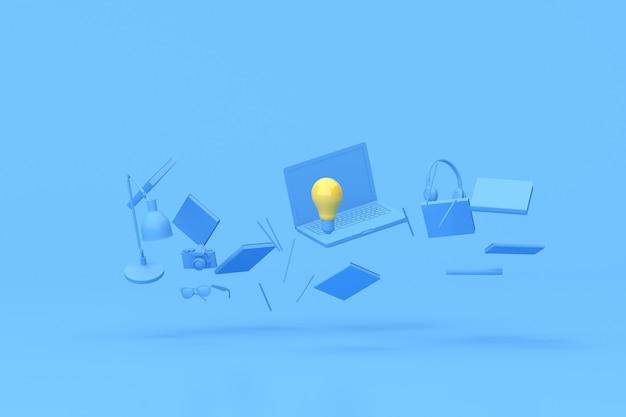 Renderowanie 3d żółtej żarówki wśród pływających akcesoriów do laptopa i biura