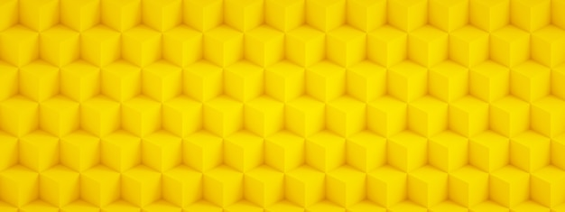 Renderowanie 3d żółtych kostek, geometryczne tło, obraz panoramiczny