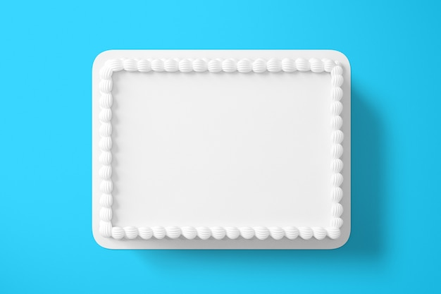 Renderowanie 3d zwykły biały tort urodzinowy