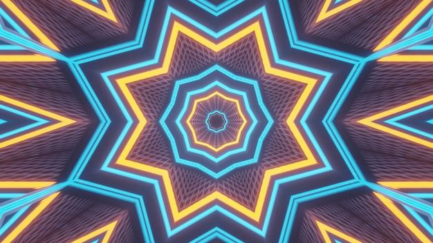 Renderowanie abstrakcyjne futurystyczne tło ze świecącymi neonami
