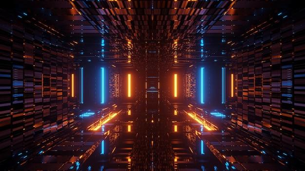Renderowanie abstrakcyjne futurystyczne tło ze świecącymi neonowymi niebieskimi i pomarańczowymi światłami